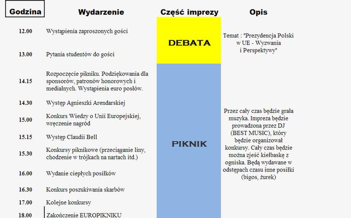 plan imprezy -europiknik 2011